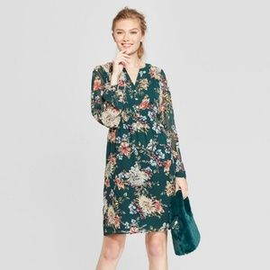 A New Day Floral Chiffon Dress V Neck Long Sleeve